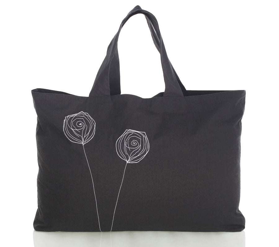 Mimi Fong Reversible Unibag in Charcoal with Floral Appliqué and Easy Access Pocket