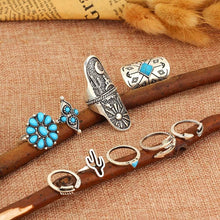 Indie Desert Arrow Turquoise Stone Ring Set