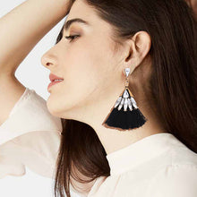 Black Crystal Tassel Earrings KEISELA