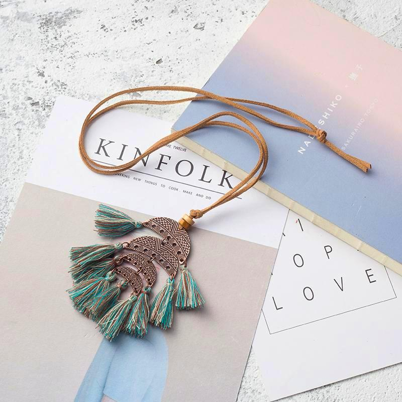 Crescent Tassel Choker Necklace