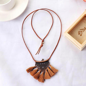 Camel Tassel Choker Necklace