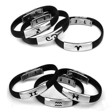 Modern Stainless Steel Zodiac Sign Silicon Bracelet