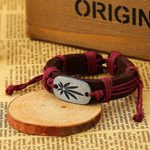 Mary Jane Weed Leather Cuff Bracelet