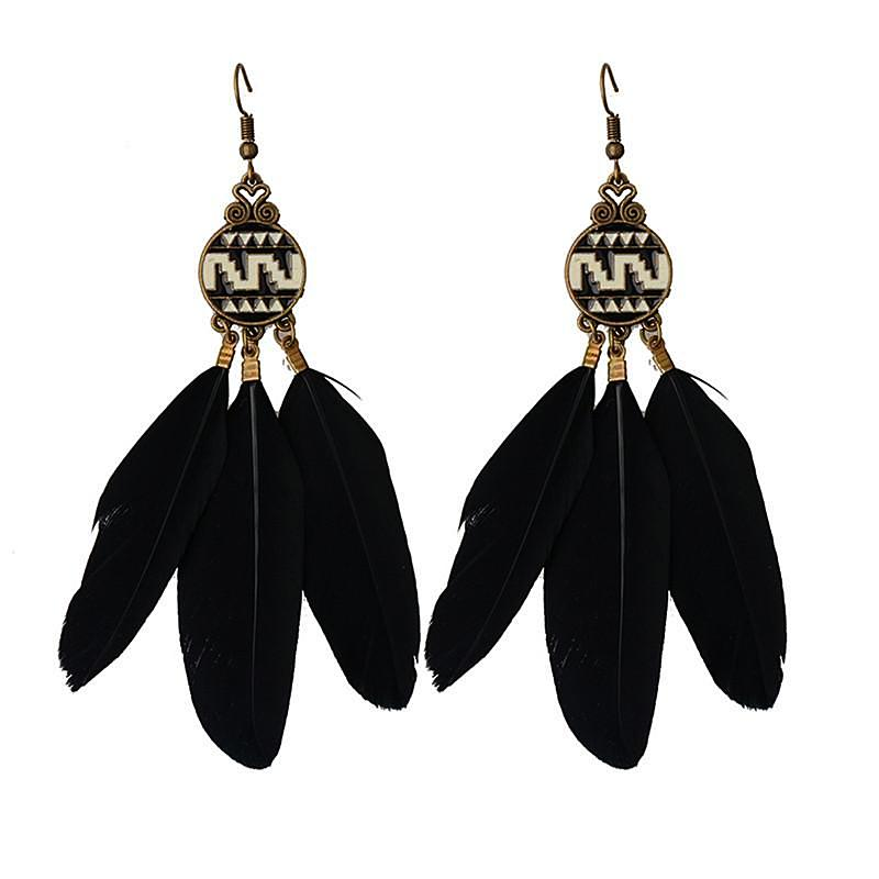 Aztec Princess Feather Earrings