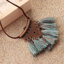 Turquoise Brown Tassel Choker Necklace