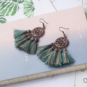 Mermaid Floral Tassel Earrings