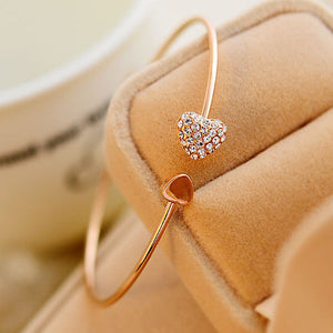 Romantic Rose Gold-Tone Heart Crystal Bangle