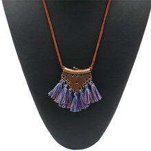 Royal Blue Burnt Sienna Tassel Choker Necklace