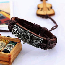 Nautical Captain Ship Wheel & Anchor Leather  Bracelet