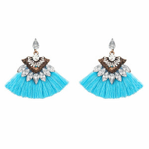 Turquoise Crystal Tassel Earrings