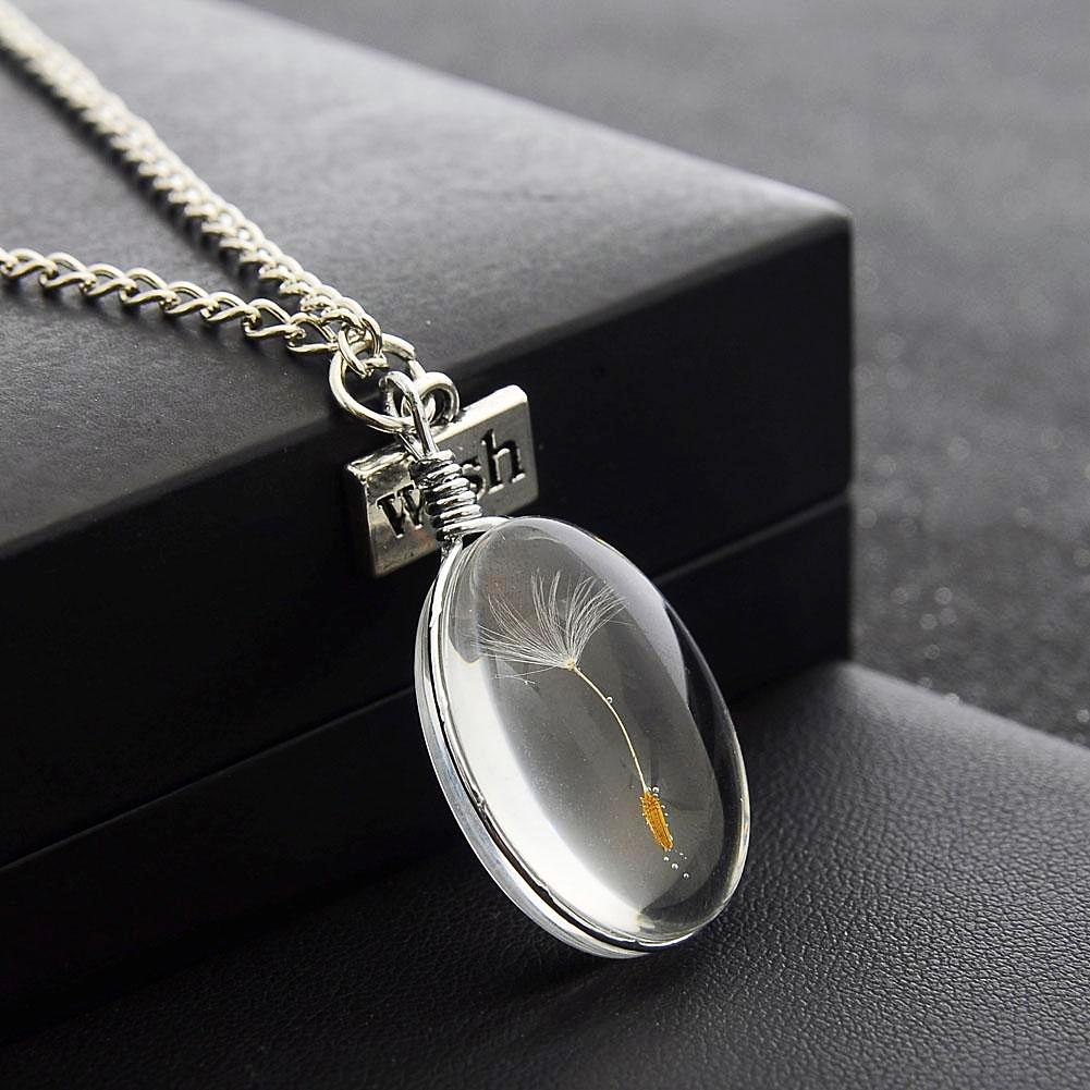 Dandelion Make A Wish Lucky Charm Pendant Necklace