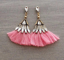 Pink Crystal Tassel Earrings