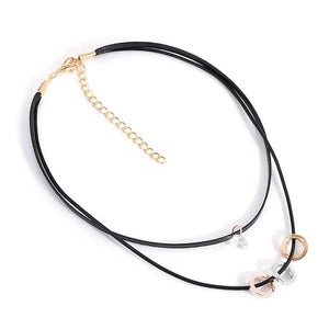 Crystal Double-Layer Choker Necklace