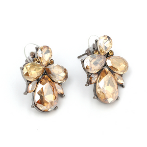 Amber Crystal Stud Earrings