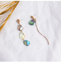 Sea blue green Iridescent Crystal Earrings