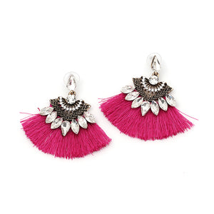 Fushia Crystal Tassel Earrings