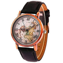 Old World Map Leather Watch