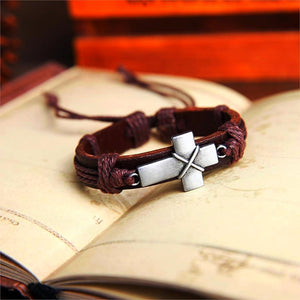 Silver Cross Leather Cuff Bracelet