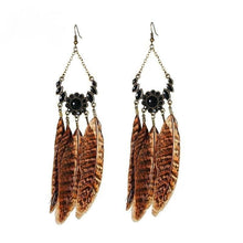 Earth Goddess Feather Earrings