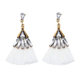 White Crystal Tassel Earrings