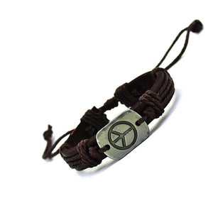 Peace Sign Leather Cuff Bracelet