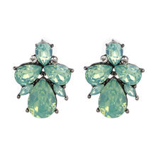 Mint Opal Crystal Stud Earrings