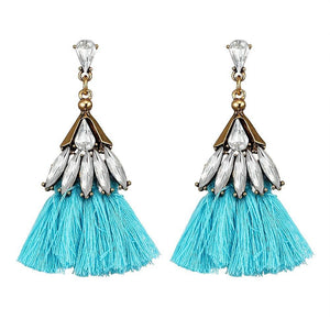 Blue Crystal Tassel Earrings