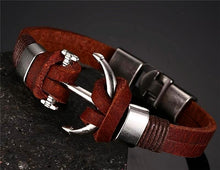 Nautical Anchor Leather Bracelet