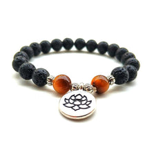 Lotus Flower Lava Rock Tiger Eye Bead Aromatherapy Bracelet