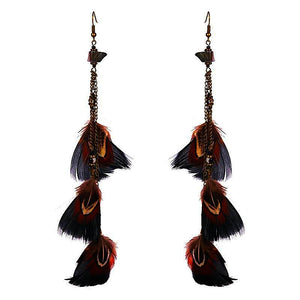 Cozumel Long Feather Earrings