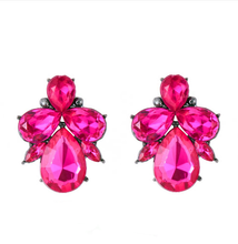 Magenta Crystal Stud Earrings
