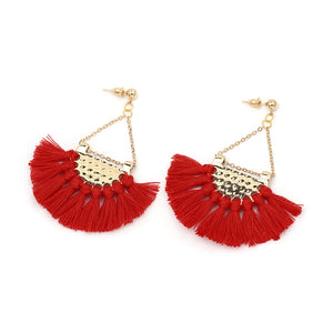 Flamenco Red Tassel Earrings