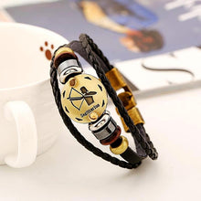 Celestial Hematite Zodiac Sign Leather Bracelet