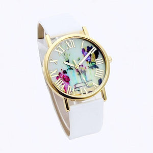 Floral White Leather Watch