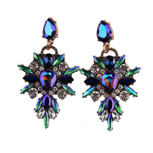 Blue Crystal Chandelier Earrings