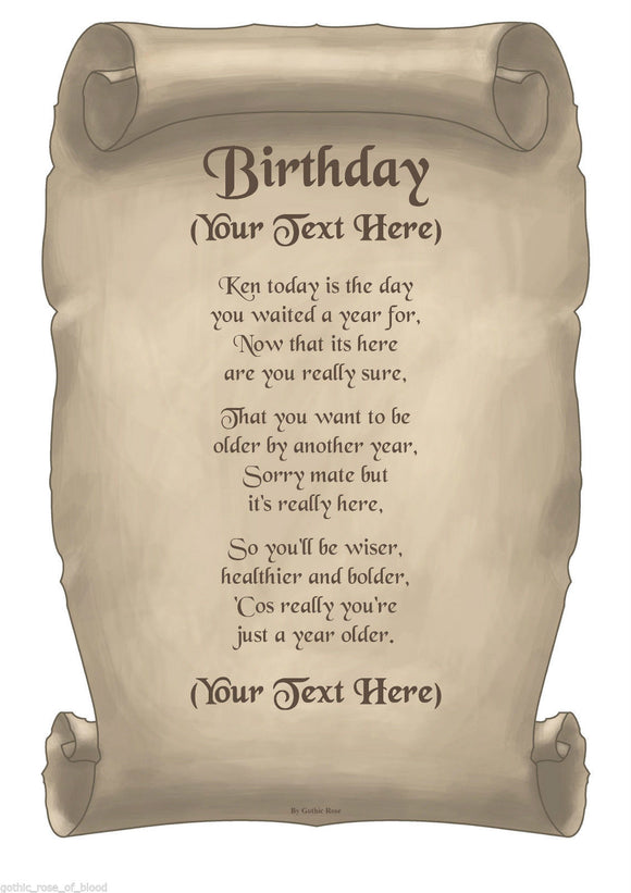 Birthday Poems - Personalised Prints, Unique & Unusual gifts – Gift