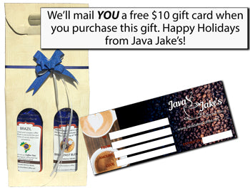 Buy this freshly roasted two pound coffee gift set and get a free $10 gift certificate for yourself!