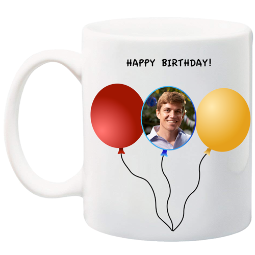 11 oz customizable balloon mug can contain your picture and message.  Personalize your mug today!