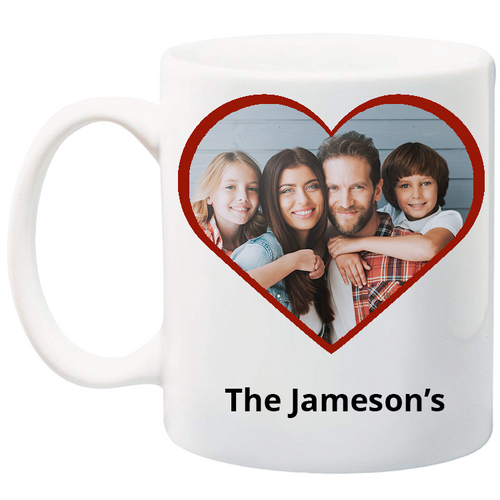 11 oz customizable heart mug can contain your picture and message.  Personalize your mug today!