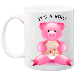 11 oz customizable baby mug can contain your picture and message.  Personalize your mug today!