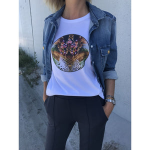 Unlimited Edition Leopard flower T-shirt White