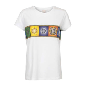 Unlimited Edition Multi print-border T-shirt White