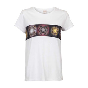 Unlimited Edition Soft flowers-border T-shirt White