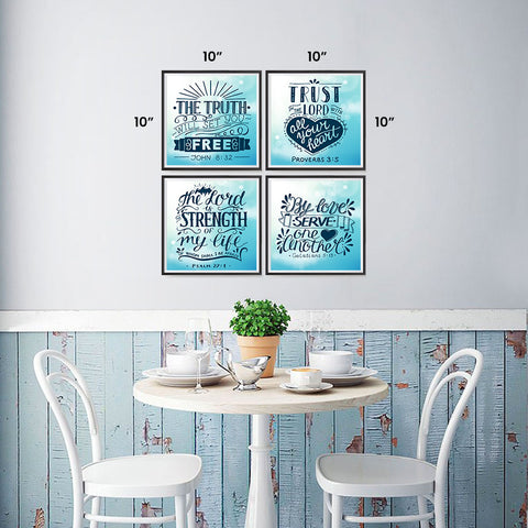 Ezposterprints - Bible Quotes - Set of 4 - Truth, Trust, Strength, Serve - 10x10 ambiance display photo sample
