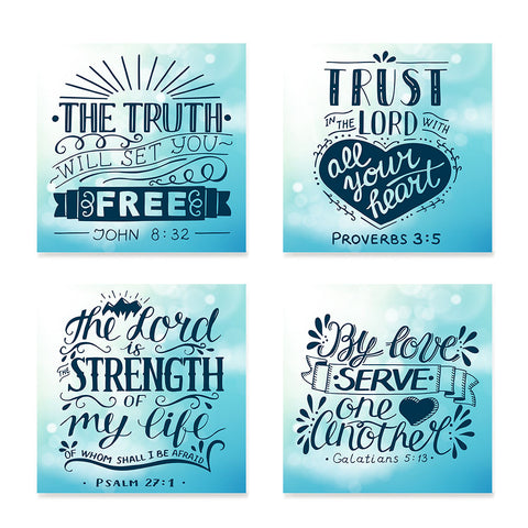 Ezposterprints - Bible Quotes - Set of 4 - Truth, Trust, Strength, Serve