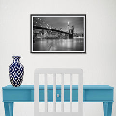 Ezposterprints - Brooklyn Bridge in Black and White - 18x12 ambiance display photo sample
