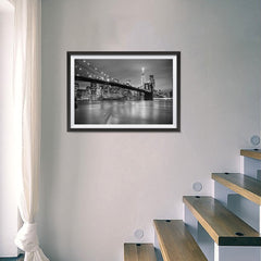 Ezposterprints - Brooklyn Bridge in Black and White - 24x16 ambiance display photo sample