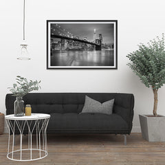 Ezposterprints - Brooklyn Bridge in Black and White - 36x24 ambiance display photo sample
