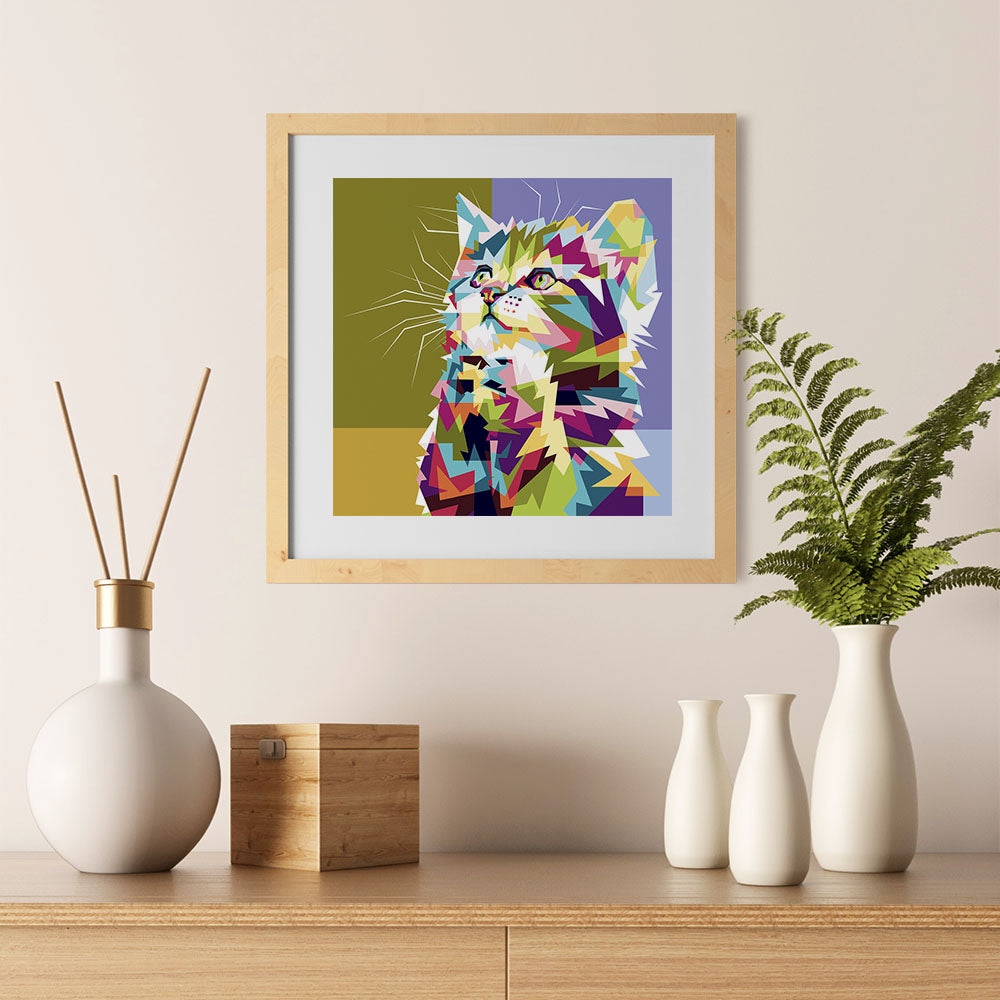 Ezposterprints - The Kitten - Cubism - 12x12 ambiance display photo sample