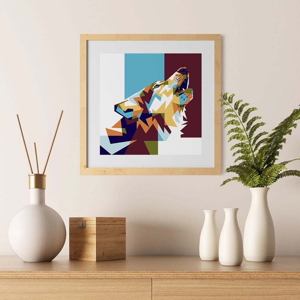 Ezposterprints - The Wolf 2 - Cubism - 12x12 ambiance display photo sample